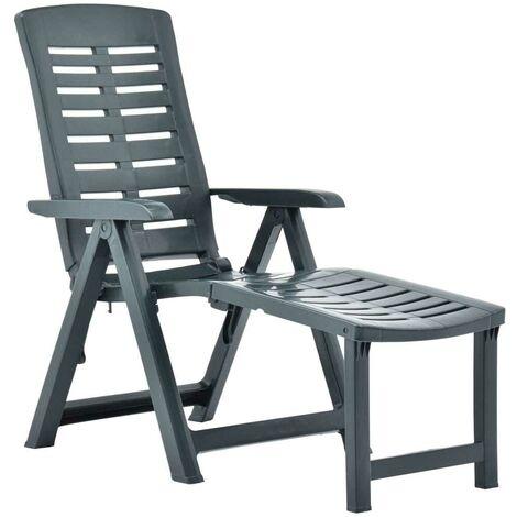 Hommoo Chaise longue pliable Plastique Vert HDV46650