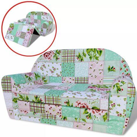 Hommoo Chaise longue pliable pour enfants motif de fleurs