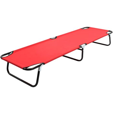 Hommoo Chaise longue pliable Rouge Acier