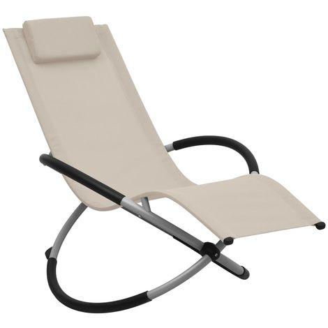 Hommoo Chaise longue pour enfants Acier Crème