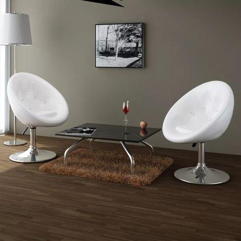 Hommoo Chaises de bar 2 pcs Blanc Similicuir