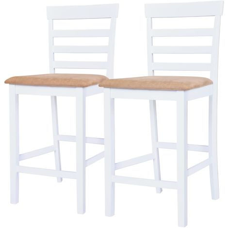 Hommoo Chaises de bar 2 pcs Blanc Tissu