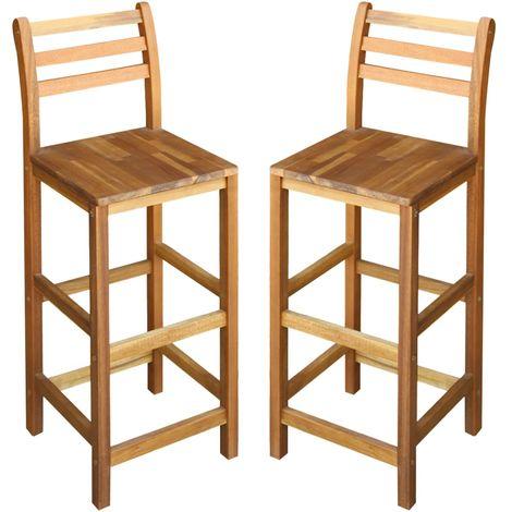 Hommoo Chaises de bar 2 pcs Bois massif d'acacia