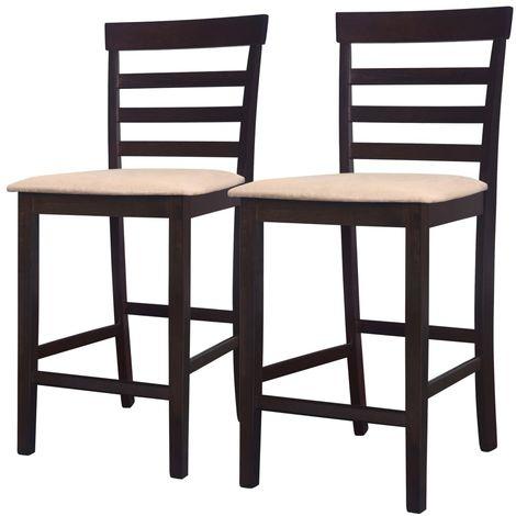 Hommoo Chaises de bar 2 pcs Marron Tissu