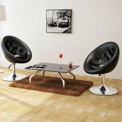 Hommoo Chaises de bar 2 pcs Noir Similicuir