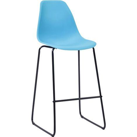Hommoo Chaises de bar 4 pcs Bleu Plastique