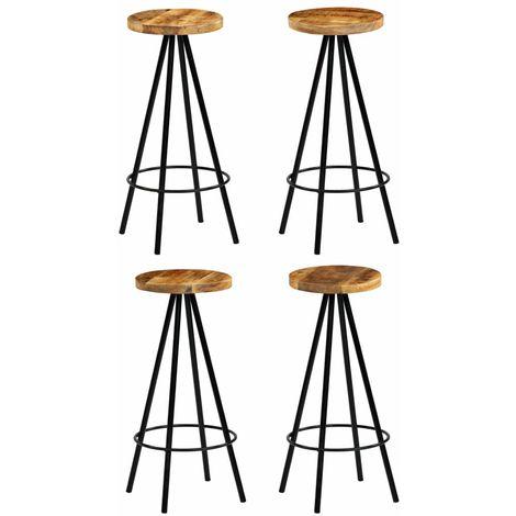 Hommoo Chaises de bar 4 pcs Bois de manguier solide