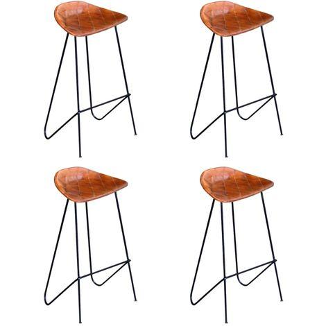 Hommoo Chaises de bar 4 pcs Marron Cuir véritable