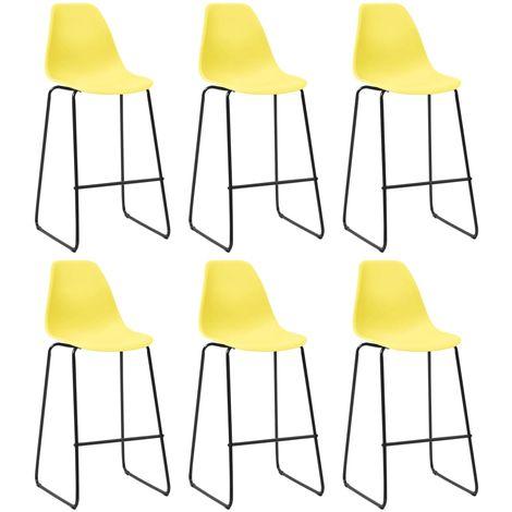 Hommoo Chaises de bar 6 pcs Jaune Plastique
