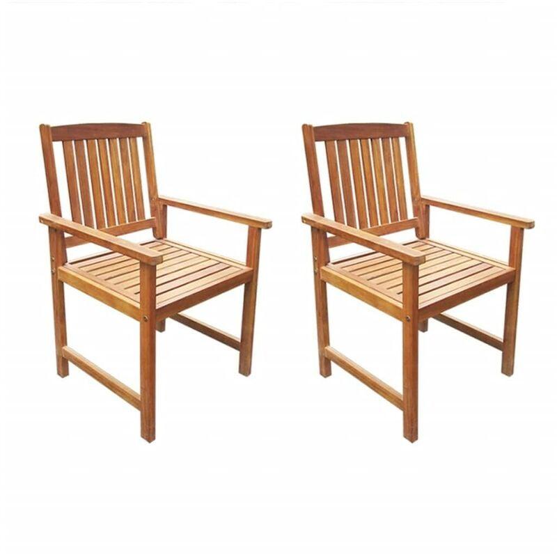 Chaises de jardin 2 pcs Bois d'acacia massif Marron HDV27148 - Hommoo