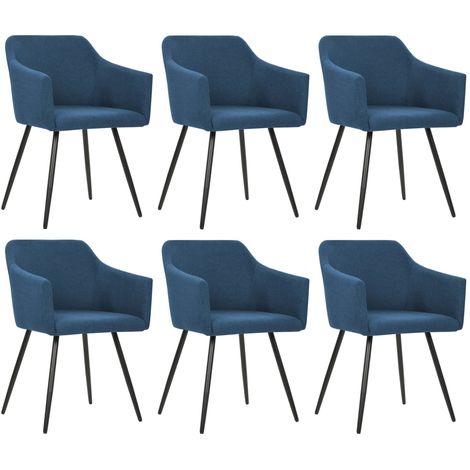 Hommoo Chaises de salle à manger 6 pcs Bleu Tissu