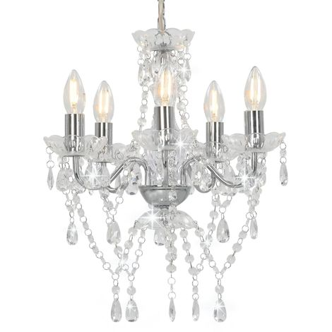 Hommoo Chandelier with Crystal Beads Silver Round 5 x E14