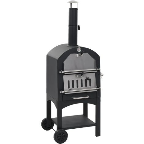 Hommoo Charcoal Fired Outdoor Pizza Oven with Fireclay Stone