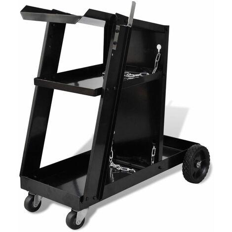 Hommoo Chariot de soudage avec 3 étagères d'atelier Noir HDV03776