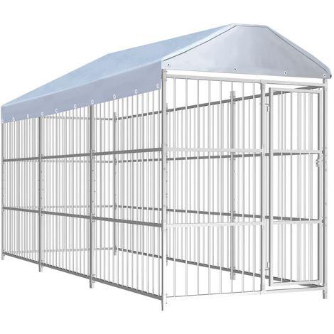 Hommoo Chenil d'extérieur avec toit pour chiens 450 x 150 x 200 cm