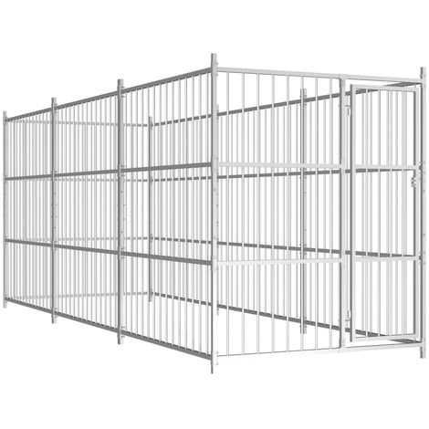 Hommoo Chenil d'extérieur pour chiens 450 x 150 x 185 cm