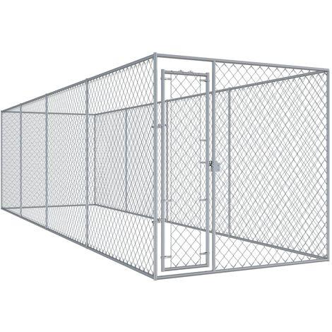 Hommoo Chenil d'extérieur pour chiens 7,6x1,9x2 m