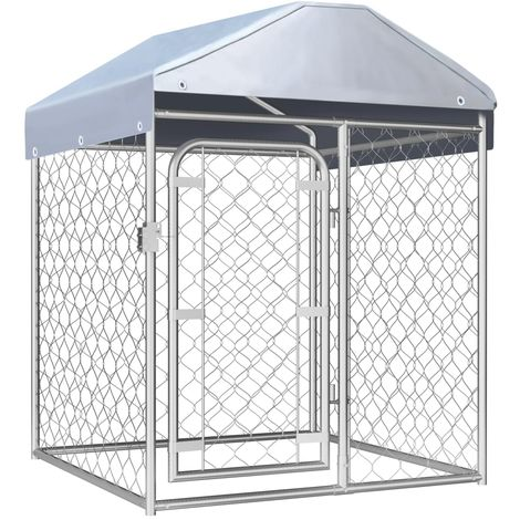 Hommoo Chenil extérieur avec toit 100 x 100 x 125 cm