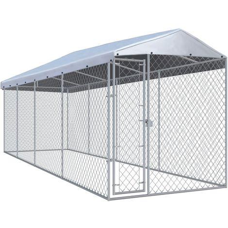 Hommoo Chenil extérieur avec toit pour chiens 7,6x1,9x2,4 m