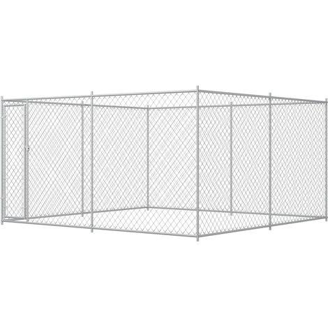 Hommoo Chenil extérieur pour chiens 4 x 4 x 2 m