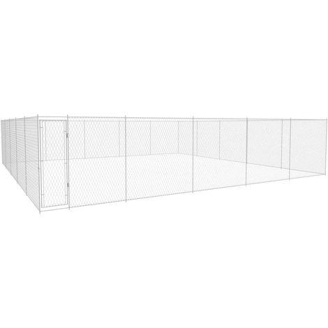 Hommoo Chenil extérieur pour chiens Acier galvanisé 950x950x185 cm