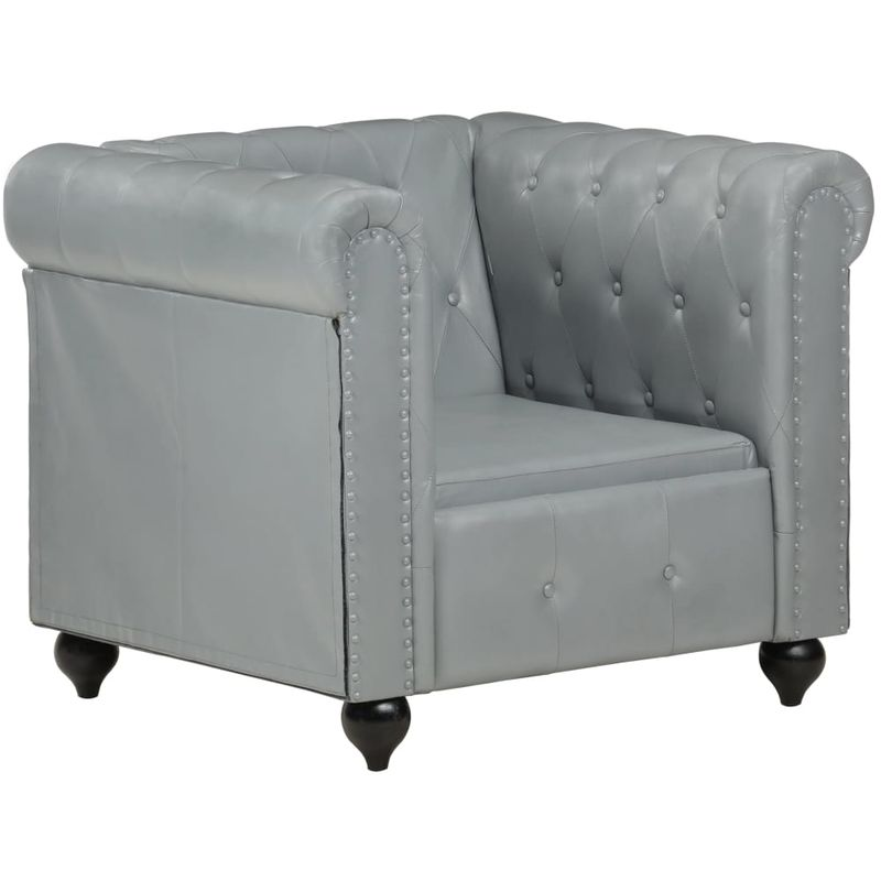 Hommoo Chesterfield-Sessel Grau Echtleder VD36254