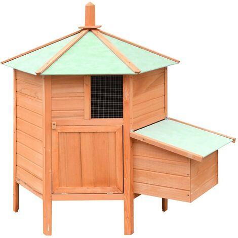 Hommoo Chicken Cage Solid Pine & Fir Wood 126x117x125 cm