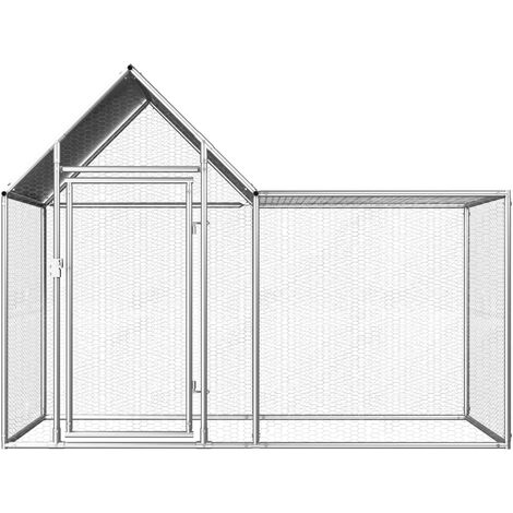 Hommoo Chicken Coop 2x1x1.5 m Galvanised Steel QAH06048