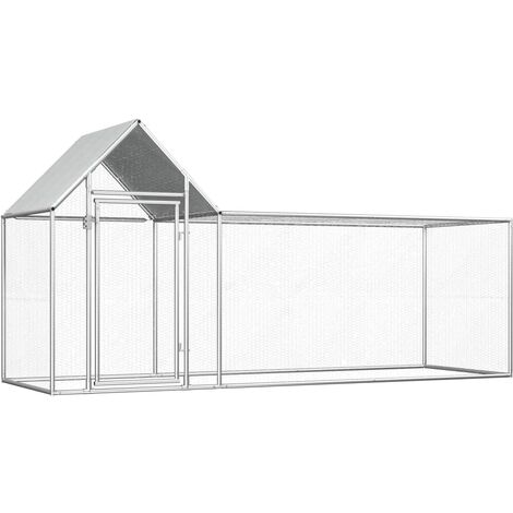 Hommoo Chicken Coop 3x1x1.5 m Galvanised Steel QAH33029