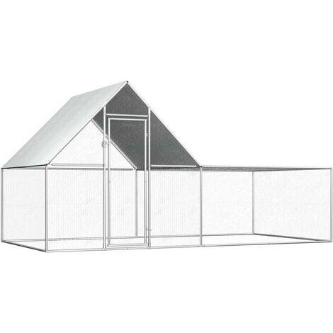 Hommoo Chicken Coop 4x2x2 m Galvanised Steel