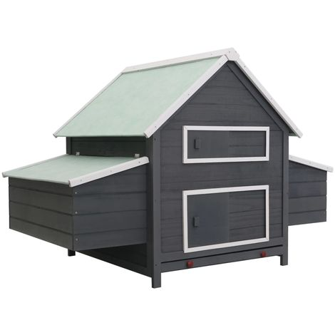 Hommoo Chicken Coop Grey 157x97x110 cm Wood
