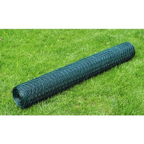 Hommoo Chicken Wire Fence Galvanised with PVC Coating 25x0.5 m Green VD03557