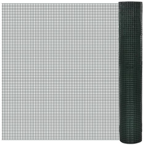 Hommoo Chicken Wire Fence Galvanised with PVC Coating 25x1 m Green VD03590