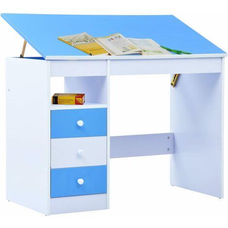 Hommoo Children Drawing Study Desk Tiltable Blue and White QAH37370