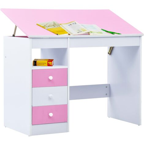 Hommoo Children Drawing Study Desk Tiltable Pink and White QAH37371
