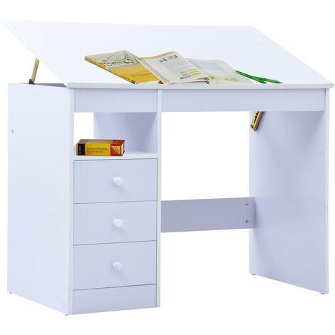 Hommoo Children Drawing Study Desk Tiltable White QAH37372