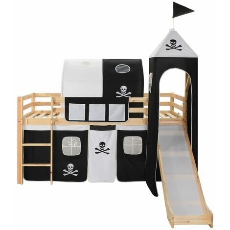 Hommoo Children's Loft Bed Frame with Slide & Ladder Pinewood 97x208 cm QAH23797
