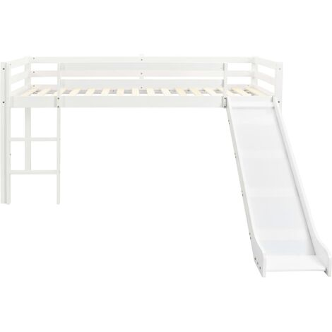 Hommoo Children's Loft Bed Frame with Slide & Ladder Pinewood 97x208 cm QAH23799