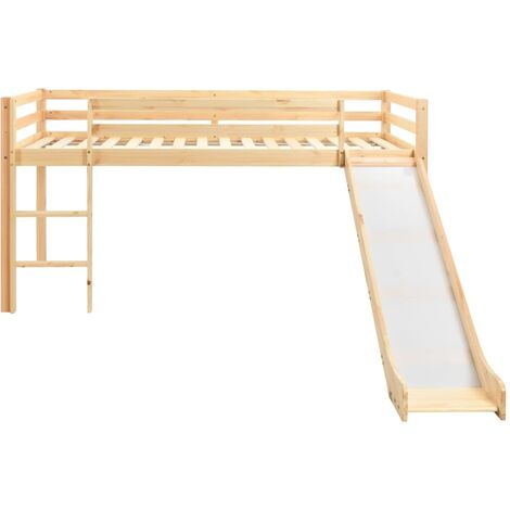 Hommoo Children's Loft Bed Frame with Slide & Ladder Pinewood 97x208 cm QAH23800
