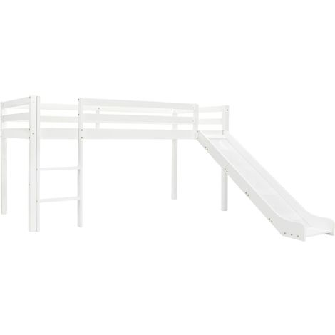 Hommoo Children's Loft Bed Frame with Slide & Ladder Pinewood 97x208 cm VD23799