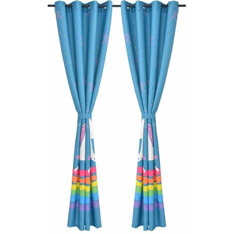 Hommoo Children's Printed Blackout Curtains 2 pcs 140x240 cm Blue QAH01612