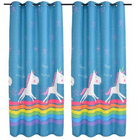 Hommoo Children's Printed Blackout Curtains 2 pcs 140x240 cm Blue VD01612