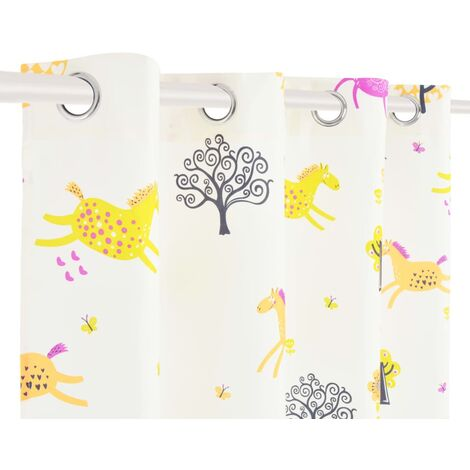 Hommoo Children's Printed Blackout Curtains 2 pcs 140x240cm Horses and Trees QAH02500