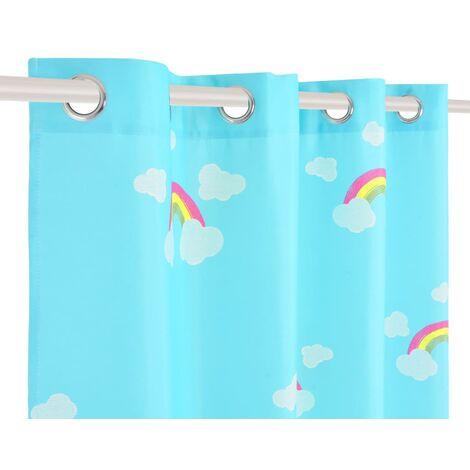 Hommoo Children's Printed Blackout Curtains 2 pcs 140x240cm Rainbow Blue QAH02499