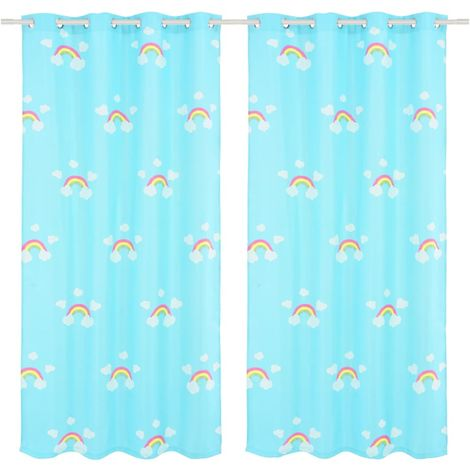 Hommoo Children's Printed Blackout Curtains 2 pcs 140x240cm Rainbow Blue VD02499