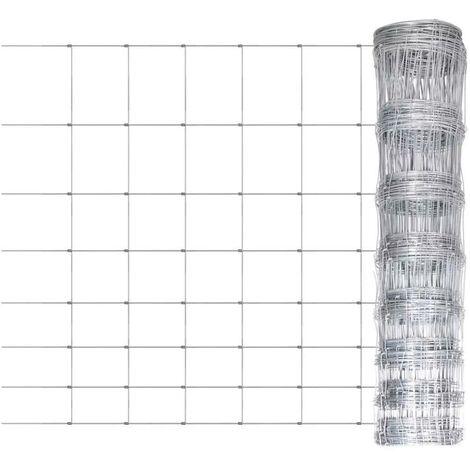 Hommoo Clôture de jardin Acier galvanisé 50 m 100 cm HDV03685