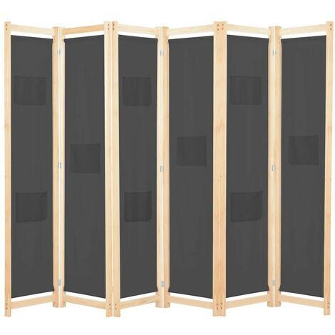 Hommoo Cloison de séparation 6 panneaux Gris 240 x 170 x 4 cm Tissu HDV13987