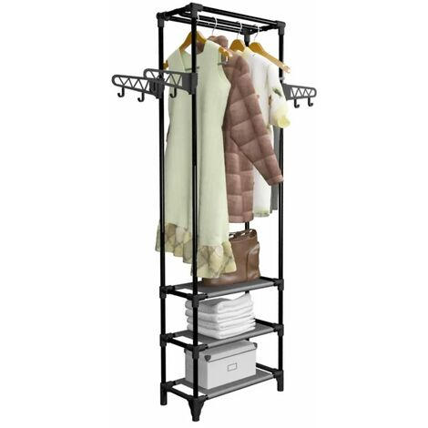 Hommoo Clothes Rack Steel and Non-woven Fabric 55x28.5x175 cm Black QAH11691