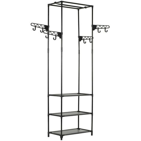 Hommoo Clothes Rack Steel and Non-woven Fabric 55x28.5x175 cm Black VD11691