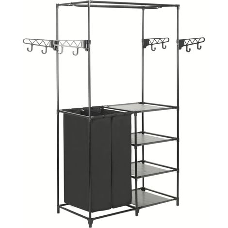 Hommoo Clothes Rack Steel and Non-woven Fabric 87x44x158 cm Black